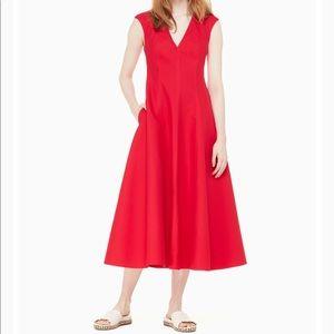 Kate Spade Red cotton sleeveless v-neck midi dress